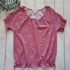 LoveGlamGirl GIRLS Pink & White Ruffle Sleeve Top